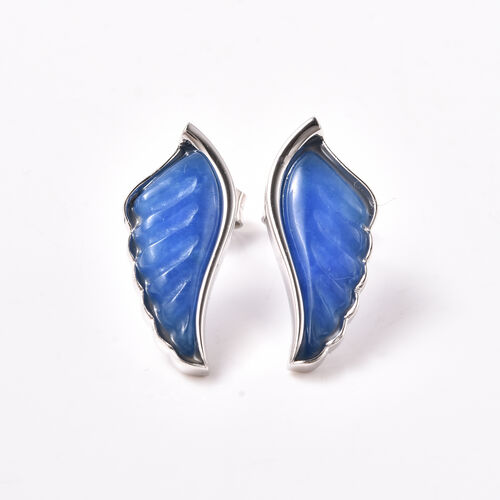 Isabella Liu Angel Wing Collection - Carved Blue Jade Earrings (with Push Back) in Rhodium Overlay S