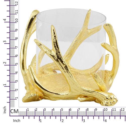 Home Decor - Designer Insipired - Antique Antler Candle Pillar Holder in Gold Tone