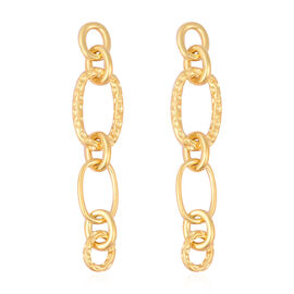 RACHEL GALLEY Yellow Gold Overlay Sterling Silver Dangle Link Earrings (with Push Back), Silver wt 1