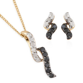 Set of 2 - Diamond Earrings (with Push Back) and Pendant With Chain in 14K Gold Overlay and Black Plating Sterling Silver