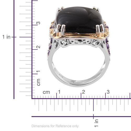 Shungite (Ovl 19.00 Ct), Amethyst Ring in Platinum and Yellow Gold Overlay Sterling Silver 20.000 Ct. Silver wt 9.50 Gms.