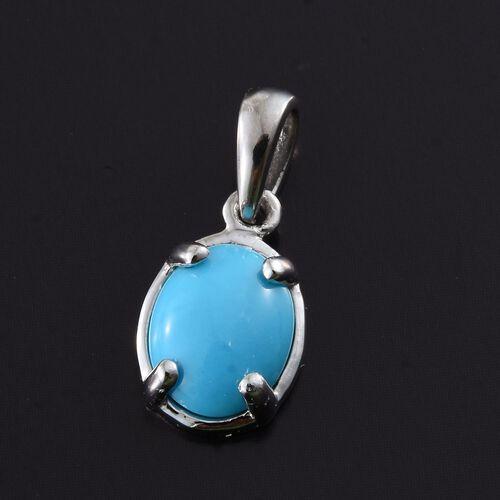 RHAPSODY 950 Platinum AAAA Arizona Sleeping Beauty Turquoise (Ovl) Solitaire Pendant 1.500 Ct.