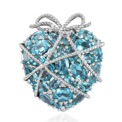 GP - Paraibe Apatite, Natural Cambodian Zircon and Blue Sapphire Cluster Heart Pendant in Platinum O