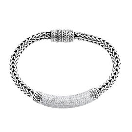 6.75 Ct White Zircon Fancy Bracelet in Platinum Plated Sterling Silver 39.24 Grams