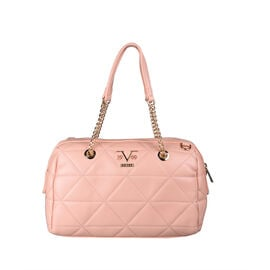 19V69 ITALIA by Alessandro Versace Quilted Pattern Crossbody Bag with Detachable Strap (Size 27x10x18cm) - Pink