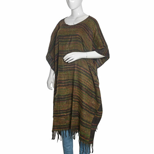 Olive Green, Black and Multi Colour Stripes Pattern Poncho with Tassels (Free Size)