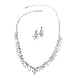 2 Piece Set - White Austrian Crystal (Rnd) Tassel Necklace (Size 22) and Earrings (with Push Back) in Silver Tone