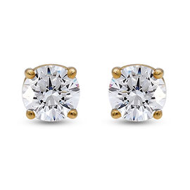 14K Yellow Gold SGL Certified Diamond (I1-I2/G-H) Solitaire Stud Earrings (with Screw Back) 0.50 Ct.