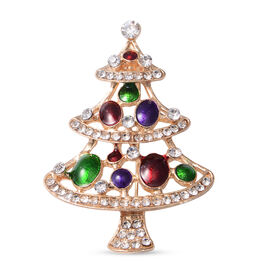 Christmas White Austrian Crystal Tree Enamelled Brooch in Yellow Tone