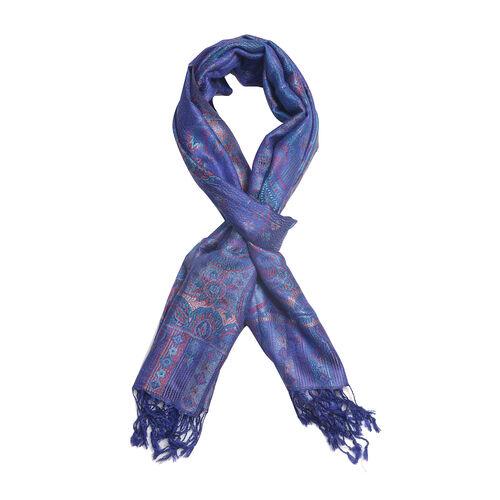 SILK MARK - 100% Superfine Silk Royal Blue Colour Jacquard Jamawar Scarf with Fringes (Size 180x70 Cm) (Weight 125-140 Grams)
