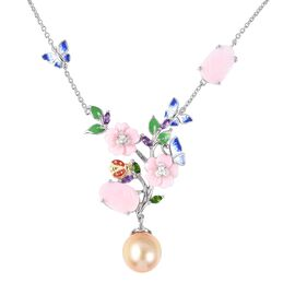 Jardin Collection - Golden South Sea Pearl, Pink Mother of Pearl and Multi Gemstone Necklace (Size 1