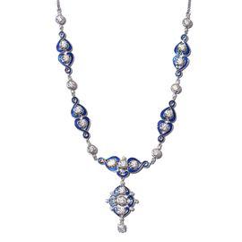 J Francis Platinum Overlay Sterling Silver Enamelled Neckalce (Size 18) Made with SWAROVSKI ZIRCONIA