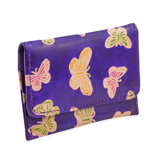 100% Genuine Leather Deep Violet and Multi Colour Butterfly Hand Painted Card Holder (12x8 Cm), Coin Pouch (10x4 Cm) and Keyring (4 Cm)