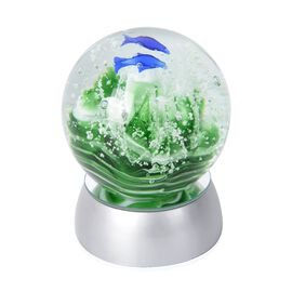 Home Decor - Coral and Fish Pattern Crystal Ball with Colour Changing LED (Green and Blue) Silver Co