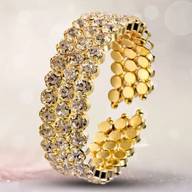 Austrian White Crystal Bangle (Size 6.5) in Gold Tone