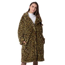 Green and Black Colour Leopard Print Pattern Faux Fur Long Coat (Size XXL to XXXL)
