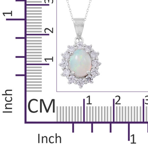 Ethiopian Welo Opal (Ovl 1.20 Ct), Natural White Cambodian Zircon Pendant with Chain in Rhodium Plated Sterling Silver 2.500 Ct.