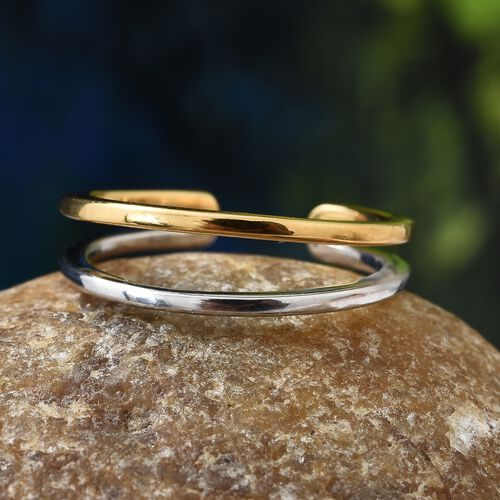 Designer Inspired - Double Row Ring in Platinum and Yellow Gold Overlay Sterling Silver
