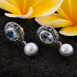 Royal Bali Collection - Blue Topaz, White Shell Pearl, Natural Cambodian Zircon Earrings (with Push Back) in Sterling Silver 2.78 Ct, Silver wt 5.67 Gms