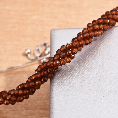 Ratnapura Hessonite Garnet Beads Bolo Bracelet (Size 6.5-9.5 Adjustable) in Platinum Overlay Sterling Silver 30.60 Ct.