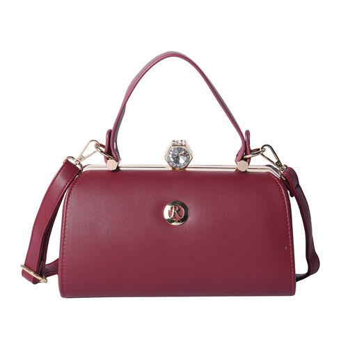 BOUTIQUE COLLECTION Wine Red Colour Clutch Bag with Detachable and Adjustable Shoulder Strap with Cr