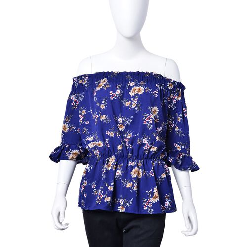 Summer Collection - Limited Available - Dark Blue and Multi Colour Floral Pattern Peplum Top (Medium