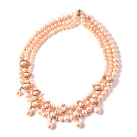LucyQ Pink Freshwater Pearl and Natural Cambodian Zircon Necklace (Size 19) in Rose Gold Overlay Ste