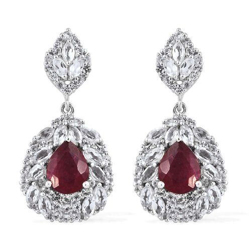African Ruby (Pear), White Topaz Earrings (with Push Back) in Platinum Overlay Sterling Silver 10.00