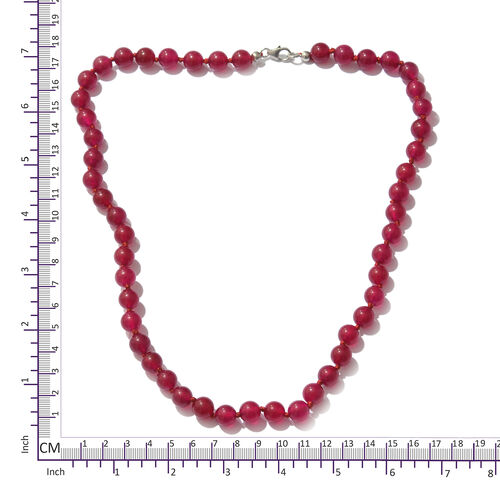 Ruby Quartzite  Beads Necklace (Size 20) in Platinum Overlay Sterling Silver 126.750 Ct.