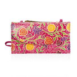 SUKRITI 100% Genuine Leather Floral Pattern Crossbody Bag (Size 24x13x6 Cm) - Fuchsia
