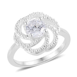 J Francis Made with Swarovski Zirconia Anemone Canadensis Flower Ring in Sterling Silver