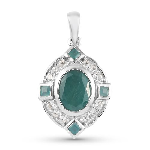 Grandidierite and Natural Cambodian Zircon Pendant in Platinum Overlay Sterling Silver 2.50 Ct.