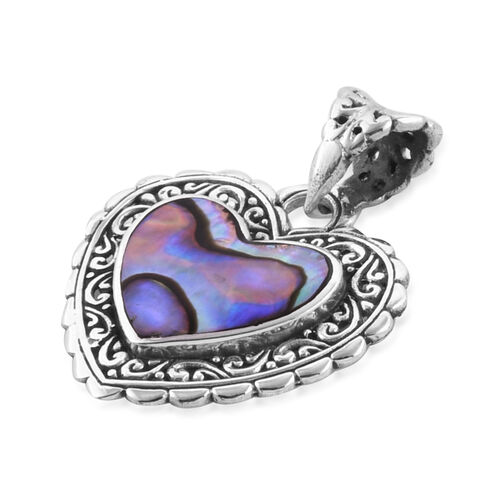 Royal Bali Collection Abalone Shell Heart Pendant Sterling Silver