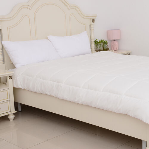 Luxury Kingsize Duvet with Wool-Rich Filling and Gold Piping (Size 225x220 Cm) - Cream Colour