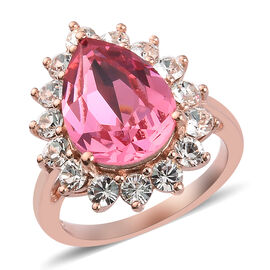 J Francis - Crystal from Swarovski Rose Colour Crystal and White Colour Crystal Ring in Rose Gold Ov