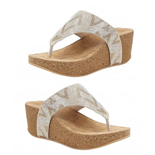 Lotus Patsy Toe Post Wedge Sandals (Size 4) - Gold