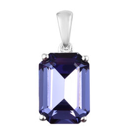 J Francis - Crystal from Swarovski Tanzanite Colour Crystal (Oct 14x10 mm) Pendant in Sterling Silve