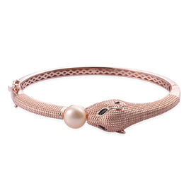 Designer Inspired- Freshwater Pink Pearl and Boi Ploi Black Spinel Leopard Head Bangle (Size 7.5) in