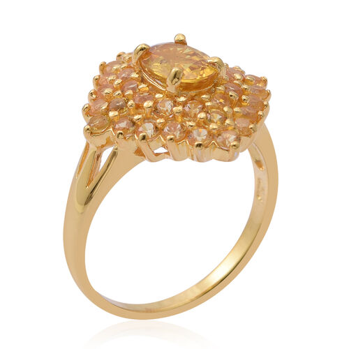 Chanthaburi Yellow Sapphire (Ovl 1.60 Ct) Cluster Ring in 14K Gold Overlay Sterling Silver 4.120 Ct. Silver wt 5.40 Gms.