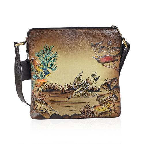 SUKRITI, Meaning Beautiful Creation -  Garden Wonderland Hand Painting 100% Genuine Leather Bird and Flower Cross body Handbag with Adjustable Strap (Size 26.5x26.5 Cm)