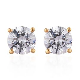 J Francis - 14K Gold Overlay Sterling Silver Stud Earrings Made with SWAROVSKI ZIRCONIA 2 Ct.