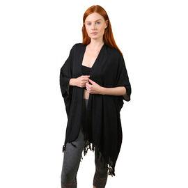 TAMSY 100% Rayon Kimono (One Size) - Black