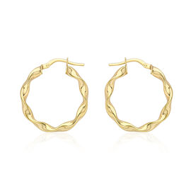 9K Yellow Gold Twist Creole Hoop Earrings (with Clasp), Gold wt 1.40 Gms