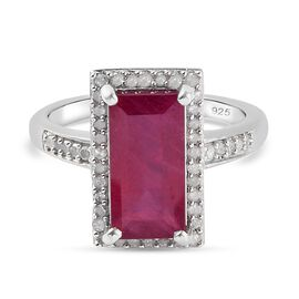 African Ruby (FF) and Diamond Ring in Platinum Overlay Sterling Silver 4.57 Ct.