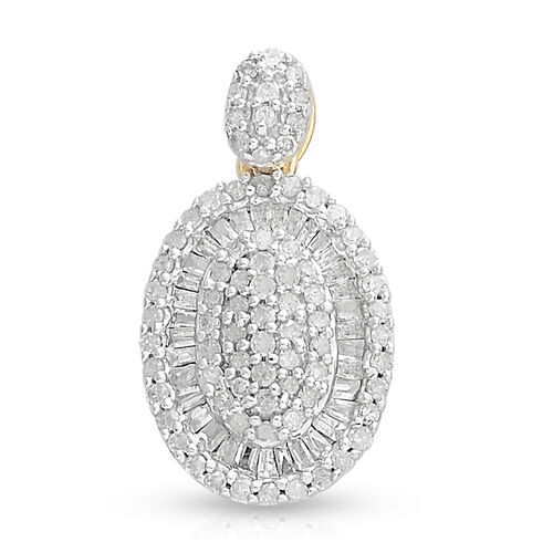 Diamond (Rnd) Pendant in 14K Yellow Gold Overlay Sterling Silver 0.51 Ct, Number of Diamonds 114.