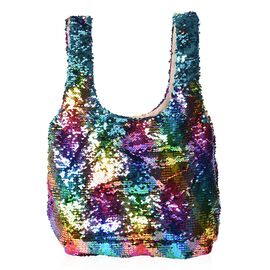 Multi and Blue Sequin Shopping Bag with Magnetic Closure (Size 40x33.5 Cm)