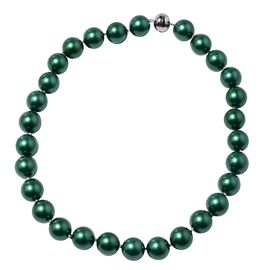 Russian Diopside Colour Shell Pearl Beaded Necklace in Rhodium Plated Silver 20 Inch