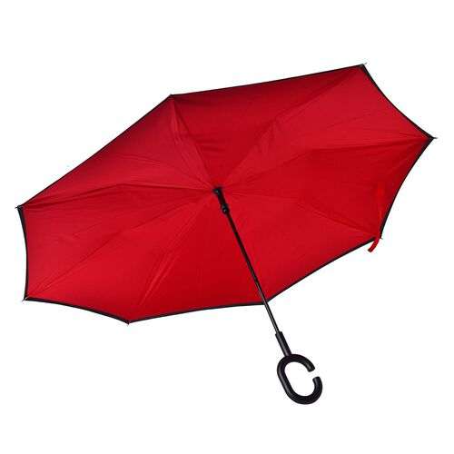 Reverse Folding Double Layer C-Handle Umbrella with Red - Black (Size-88 Cm)