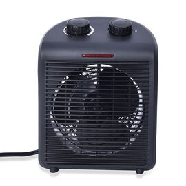 1000W/2000W Electric Fan Heater with 2 Heat and 1 Cold Speed Setting (Size 25x19x13 Cm) - Black