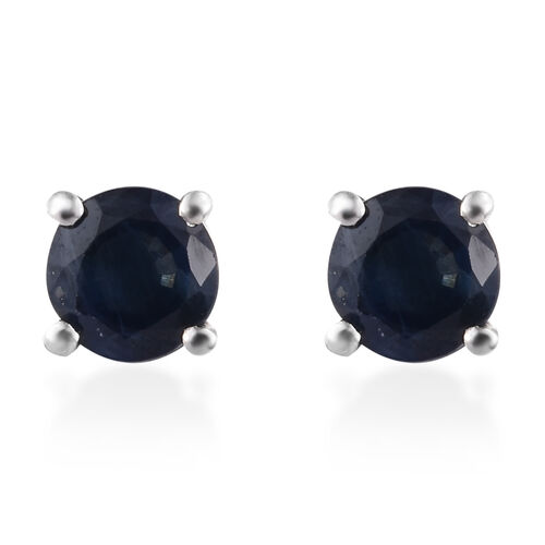Kanchanaburi Blue Sapphire (Rnd) Stud Earrings (with Push Back) in Platinum Overlay Sterling Silver